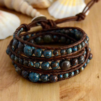 Graduated bracelet. Rustic leather wrap. Bohemian beaded leather bracelet