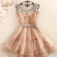 Pink hook flower slim prom dress