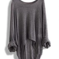Gray Batwing Loose Casual Asymmetric Sweaters