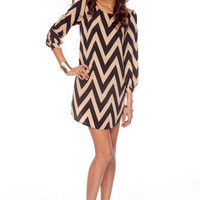 Bold Zig Zag Dress in Black and Beige :: tobi
