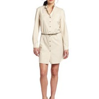 AK Anne Klein Women's Shimmer Gauze Shirt Dress