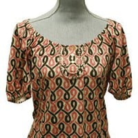 Juicy Couture Patricia Braided Hippie Printed Jersey Top Pink Brown