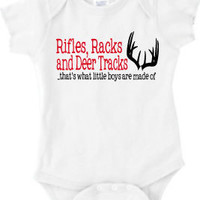 Rifles Racks and Deer Tracks Boy's T-Shirt or Baby Onesuit Two Color
