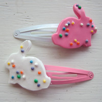 Bunny Cookie Polymer Clay Hair Clip Set