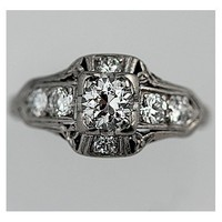 Art Deco Platinum Old European Cut Diamond Engagement Ring Circa Early 1900's