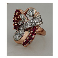 Antique Retro Pink Gold 18kt Old European Cut Diamond and Synthetic Ruby Ring Circa 1940's