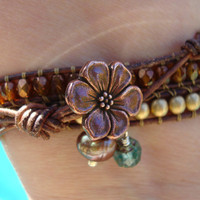 Triple Leather Wrap with Bronze Flower by mollymccarthy on Etsy