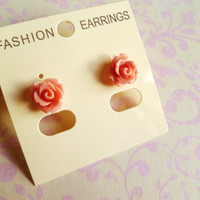 Duskypink flower earrings  resin kitsch  nickle by BowsJewellery