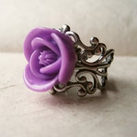 Purple Rose Ring by PiggleAndPop