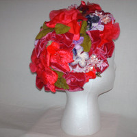 Vintage 1940s Floral Hat Headwear Marche' Exclusive