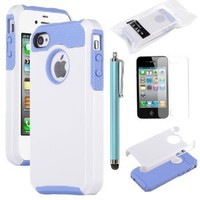 Pandamimi ULAK(TM) 2 In 1 Hybrid Blue TPU and White Hard Case Cover For iPhone 4 4S with Screen Protector and Stylus