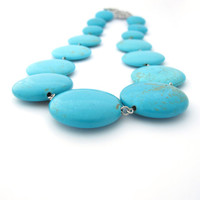 Chunky Statement Necklace, Turquoise Magnesite Stone Beads, Leaf Toggle Clasp