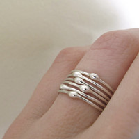 $45.00 Sterling Silver Stacking Ring Set  Rain  Set of Six by esdesigns