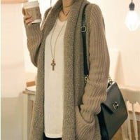 Fluffy Kimono Cardigan with Pockets