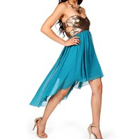 Pre-Order: Gold/Teal Hi Lo Dress