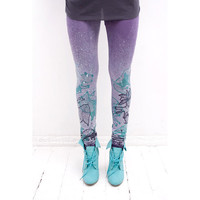 lilac leggings with mint green fancy animal print by ZIBtextile