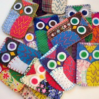 Wholesale Lot of 8 Eco Felt Owl Iphone Blackberry by lovahandmade