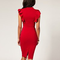 Hybrid Frill Sleeve Deep V Neck Dress