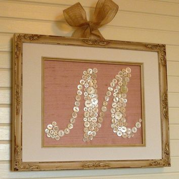 Custom Button Monogram 8x10 ReadyToFrame  by letterperfectdesigns