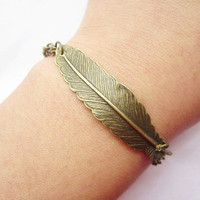 braceletantique bronze feather pendant&amp;alloy chain by lightenme