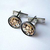 Clockwork Cufflinks Model Seventeen by amechanicalmind on Etsy