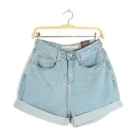 Blue Button Fly Mid Waist Short Denim Jeans
