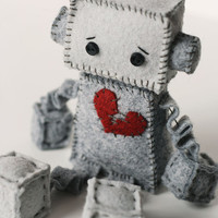Sad Little Felt Robot Plush