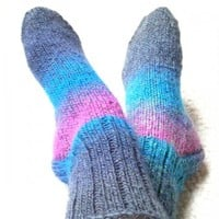 Chunky Socks Heather Striped Ladies Size 7to9 Teal Magenta Turquoise | SlicKnits - Knitting on ArtFire