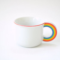 Vintage White Cup With Rainbow Handle