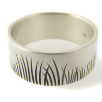 Wedding Band Native Grasses Ring in Matte White Gold by ashhilton