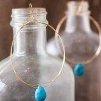 Emma Rose Designs Turquoise Hoops Online Carolina Boutique Mill Valley