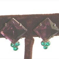 Earrings Prong Set Glass Purple Stone