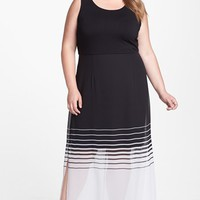 Vince Camuto Mixed Media Stripe Maxi Dress (Plus Size) (Online Only) | Nordstrom