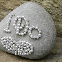 Coastal Decor, Beach Decor, Custom Beach Rock, Rhinestone Ocean Stone, I Do Beach Wedding Wishing Stone, Pearl Rock Art, Natural Stone