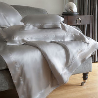 Silver Grey Silk Fitted Sheet - King from Gingerlily