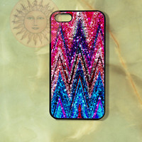Sparkling Colorful Chevron -iPhone 5 case, iphone 4s case, iphone 4 case, Samsung GS3 case-Silicone Rubber or Hard Plastic Case, cover