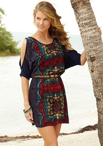 Tia Abstract Tribal Dress at Alloy