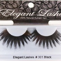 Elegant Lashes #301 Thick Long Black Human Hair False Eyelashes Halloween Dance Rave Costume