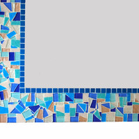 Blue Mosaic Mirror - Large Wall Mirror - Custom Home Decor