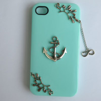 Hard iPhone 4 Cover, 4s Cover, iPhone 5 Cover, Anchor Case, Infinity Cover, Tree Branch Mint Green Case