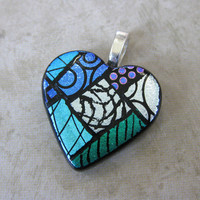 Dichroic Glass Heart Pendant, Fused Glass Jewelry, Etsy Fashion Pendant, Mothers Day Jewelry - Loveland - 1751 -2