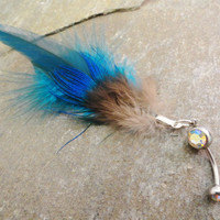 Feather Belly Button Jewelry  Turquoise Blue by MidnightsMojo