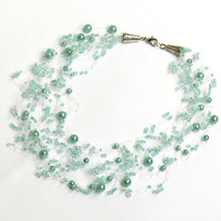 Mint Blue Necklace. Wedding Necklace. Bridesmaid Necklace. Beadwork.  Multistrand Necklace.