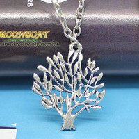 Mens Womens Necklace Antique Silvery Tree Pendant Necklace