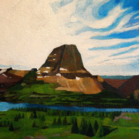 "Glacier National Park (Reynolds Mountain) 20""x 24"" Original Landscape Oil Painting"