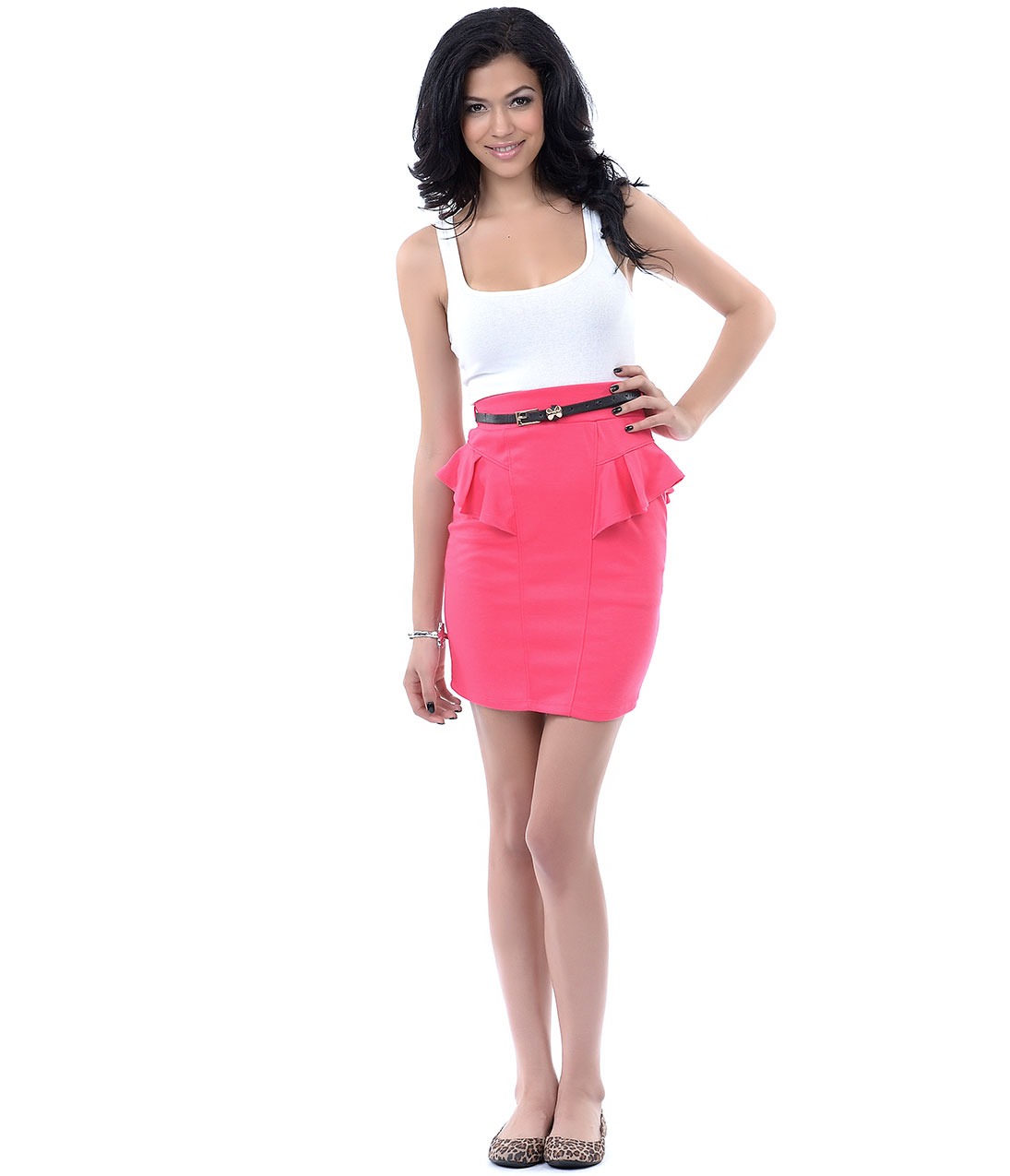 pink peplum high waisted pencil skirt from unique vintage