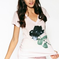SPACE ROSE CLASSIC VNECK at Wildfox Couture in  -CLEAN WHITE, DAISY