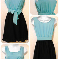 Vintage Inspired Tiffany Blue & Black Belted Bow Summer Mini Dress Size S ~NWOT~