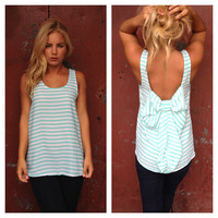 Mint Stripe Bow Back Tank