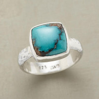 TURQUOISE SQUARED RING         -                Rings         -                Jewelry                       | Robert Redford's Sundance Catalog